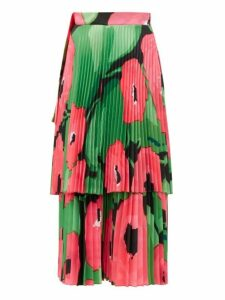 Richard Quinn - Poppy Print Pleated Satin Midi Skirt - Womens - Pink Multi
