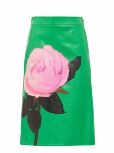 Prada - Rose Print Leather Skirt - Womens - Green Print