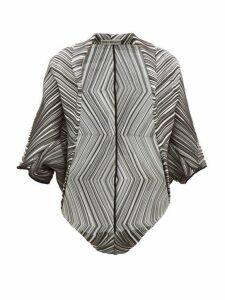 Issey Miyake - Batwing Striped Pleated Crepe Jacket - Womens - Black White