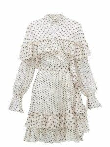 Diane Von Furstenberg - Martina Ruffled Fil Coupé Chiffon Wrap Dress - Womens - White Black