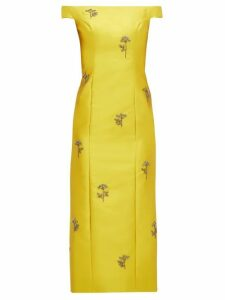 Erdem - Angelique Beaded Mikado Midi Dress - Womens - Yellow