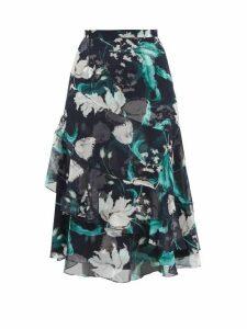 Erdem - Zennia Leighton Tulip Print Flounced Silk Skirt - Womens - Navy White