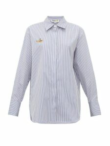 Stella Mccartney - Yellow Submarine Embroidered Striped Cotton Shirt - Womens - Light Blue