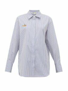 Stella Mccartney - Yellow Submarine Embroidered Striped Cotton Shirt - Womens - Light Blue