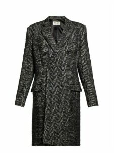 Saint Laurent - Double Breasted Wool Blend Herringbone Coat - Womens - Black