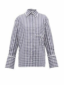 Jw Anderson - Scarf Collar Gingham Cotton Shirt - Womens - Blue White