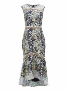 Peter Pilotto - Floral Embroidered Chantilly Lace Dress - Womens - Navy Gold
