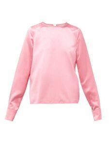 Marni - Topstitched Hem Satin Blouse - Womens - Pink
