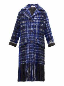 Marni - Tasselled Single Breasted Tweed Coat - Womens - Blue Multi