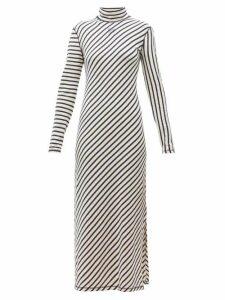 Loewe - Diagonal Striped High Neck Jersey Midi Dress - Womens - Navy White