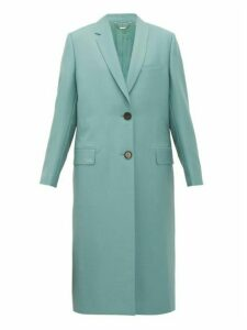 Fendi - Single Breasted Mohair Blend Coat - Womens - Blue