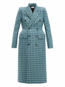 Balenciaga - Hourglass Checked Double Breasted Wool Coat - Womens - Blue Multi