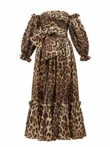 Dolce & Gabbana - Detachable Puffed Sleeve Leopard Print Midi Dress - Womens - Leopard