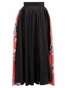 Roksanda - Maia Floral Print Taffeta Midi Skirt - Womens - Black Multi