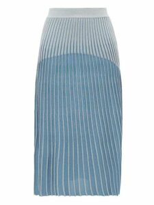 Balmain - Ribbed Jacquard Knit Midi Skirt - Womens - Blue Multi