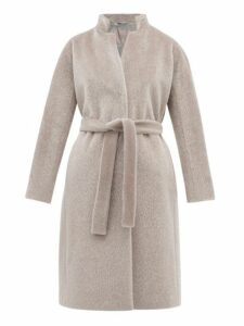 Herno - Belted Faux Fur Coat - Womens - Silver