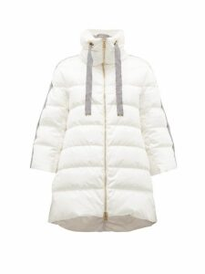 Herno - Contrast Panel Quilted Down Coat - Womens - Ivory Multi