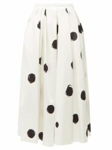 Christopher Kane - Polka Dot Cotton Blend Charmeuse Midi Skirt - Womens - White Black