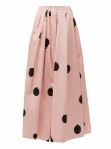 Christopher Kane - Dot Print Cotton Blend Satin Midi Skirt - Womens - Pink