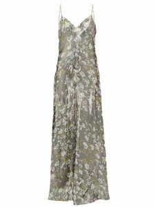 Ganni - Metallic Floral Print Slip Dress - Womens - Silver