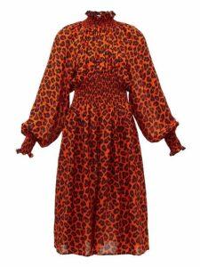 Msgm - Leopard Print Shirred Midi Dress - Womens - Orange