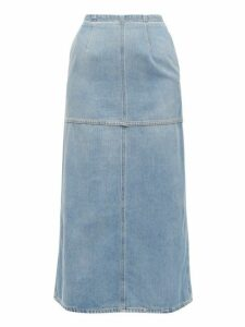 Mm6 Maison Margiela - Back Slit Denim Midi Skirt - Womens - Light Denim