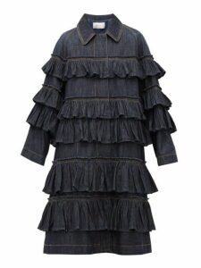 Valentino - Ruffled Tier Denim Coat - Womens - Denim