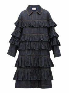 Valentino - Ruffled Tier Denim Coat - Womens - Denim