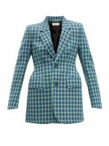 Balenciaga - Hourglass Single Breasted Wool Blazer - Womens - Blue Multi