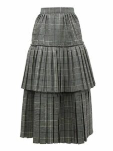 Gucci - Prince Of Wales Check Pleated Tiered Wool Skirt - Womens - Grey Multi