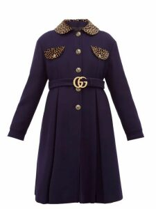 Gucci - Leopard Print Trim Single Breasted Wool Coat - Womens - Blue Multi