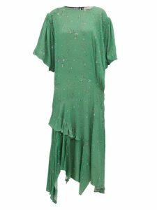 Preen Line - Camilla Asymmetric Ditsy Print Crepe Midi Dress - Womens - Green Multi