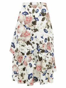Erdem - Zennia Rose Print Jacquard Flounced Midi Skirt - Womens - White Multi