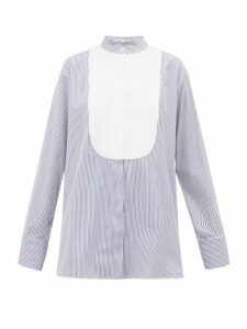 Stella Mccartney - Katlyn Pinstripe Collarless Cotton Shirt - Womens - Blue White