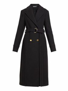 Stella Mccartney - Double Breasted Belted Felt Coat - Womens - Black