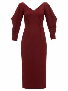 Emilia Wickstead - Calla Wool Crepe Midi Dress - Womens - Burgundy