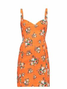 Emilia Wickstead - Fyfe Floral Print Cloqué Mini Dress - Womens - Orange Multi