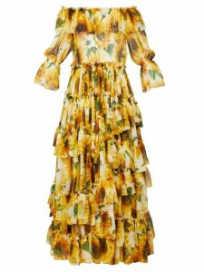 Dolce & Gabbana - Sunflower Print Ruffle Tiered Silk Chiffon Gown - Womens - Yellow Multi