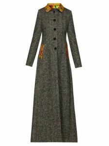 Dolce & Gabbana - Brocade Trim Single Breasted Herringbone Coat - Womens - Grey Multi