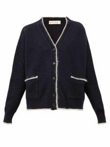 Marni - Contrast Trim Wool Blend Cardigan - Womens - Navy Multi