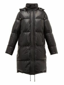 Saint Laurent - Quilted Down Filled Leather Coat - Womens - Black