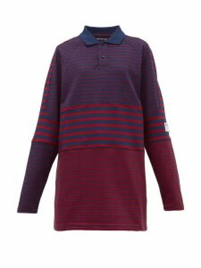 Martine Rose - Oversized Striped Cotton Piqué Polo Shirt - Womens - Navy Multi