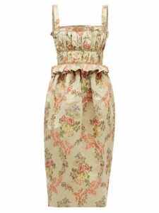 Brock Collection - Floral-jacquard Ottoman Midi Dress - Womens - Beige Multi