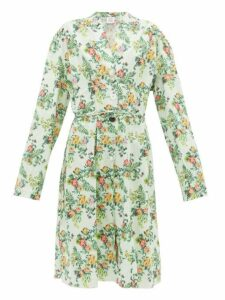 Vetements - Floral Print Tie Waist Cotton Dress - Womens - Green Multi