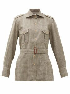 Giuliva Heritage Collection - The Aurora Belted Checked Wool Shirt - Womens - Brown Multi