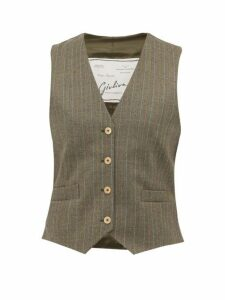 Giuliva Heritage Collection - The Andrea Pinstriped Wool Waistcoat - Womens - Grey Multi