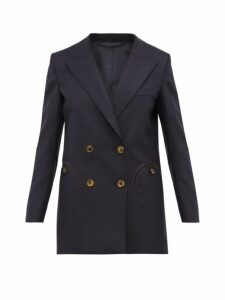 Blazé Milano - What's Next Double Breasted Wool Tweed Blazer - Womens - Navy