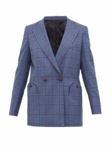 Blazé Milano - Everyday Double Breasted Checked Wool Blazer - Womens - Grey Multi
