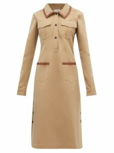 Wales Bonner - Leather Trimmed Cotton Shirtdress - Womens - Camel