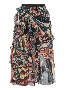 Mary Katrantzou - Abstract Print Front Slit Silk Georgette Skirt - Womens - Black Multi